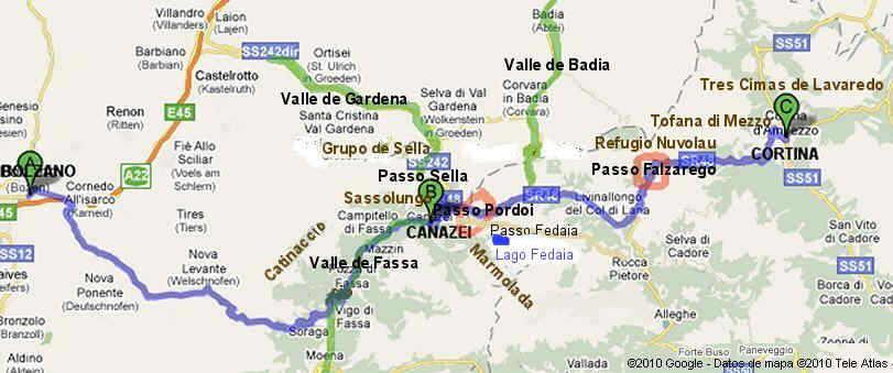 dolomitas italia mapa Rutas turísticas por las dolomitas dolomitas italia mapa