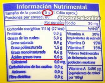 Informacion nutricional de margarina con grasas trans