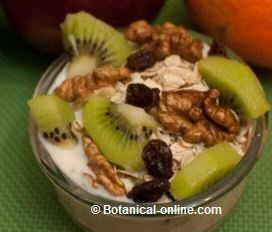 yogur con muesli, fruta, pasas, nueces, kiwi, copos avena