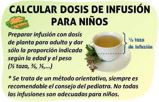 plantas medicinales infusiones dosis cantidad para niños