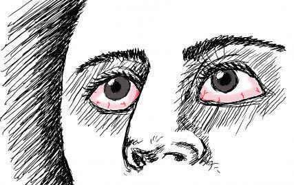 dibujo ojos secos irritados