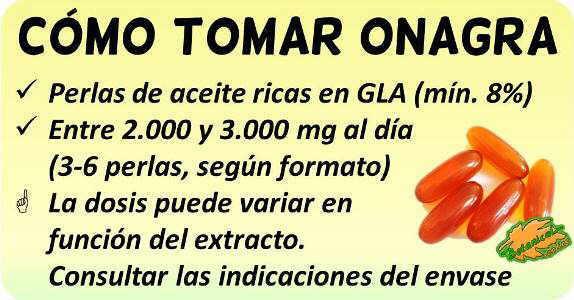 como tomar suplementos aceite onagra rico GLA