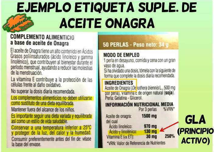 etiqueta aceite onagra