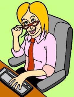 dibujo mujer ordenador oficina