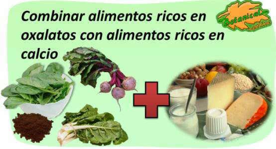 contenido en oxalatos de los alimentos (acido oxalico)