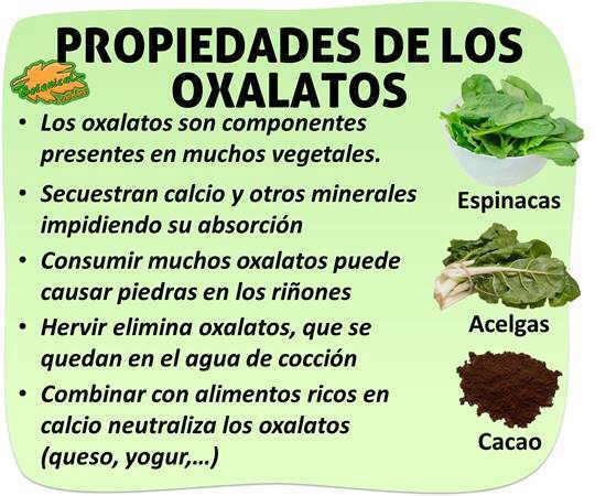 propiedades y caracteristicas de los Oxalatos, alimentos ricos y como eliminarlos