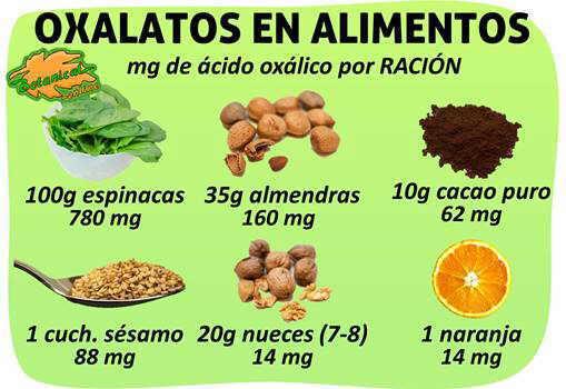 contenido en oxalatos frutos secos alimentos ricos por racion