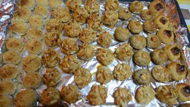 Panellets decorated with pine nuts