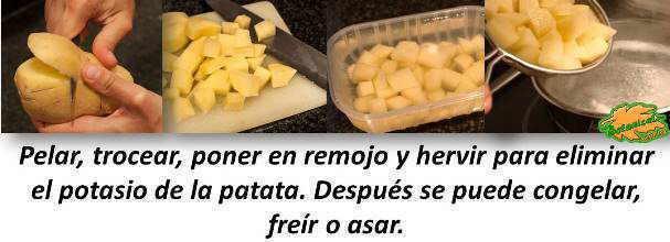 como eliminar el potasio de la patata y de los vegetales
