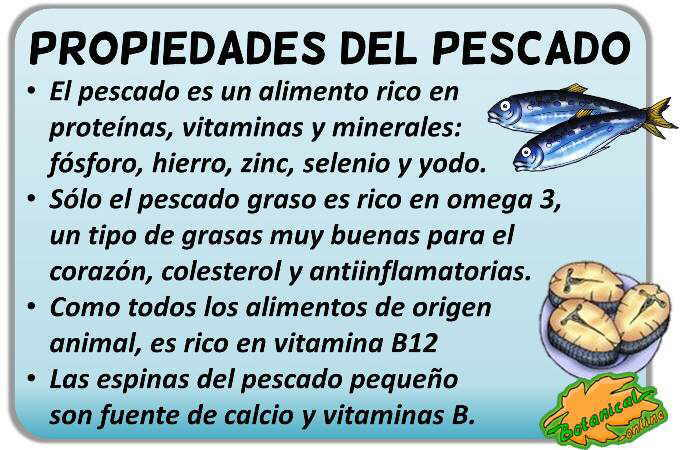 propiedades y beneficios de la pescado, vitaminas minerales