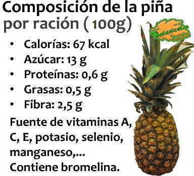 composicion nutricional de la piña o ananas, calorias, vitaminas y minerales