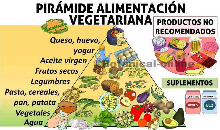 Pirámide de la dieta vegetariana, alimentos
