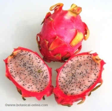 Dragon fruit open transversely