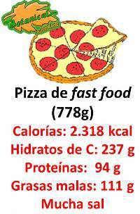 valor nutricional de una pizza de fast food entera, etiqueta