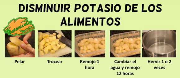 como eliminar potasio de las patata verduras y frutas