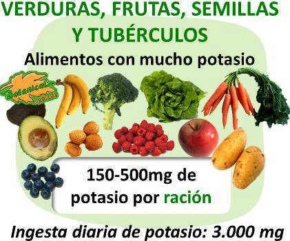 Lista de alimentos que contengan potasio