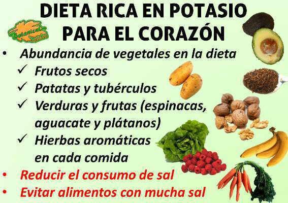 dieta rica en potasio para el corazon y la hipertension