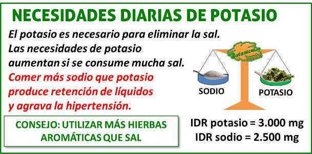 necesidades del mineral potasio
