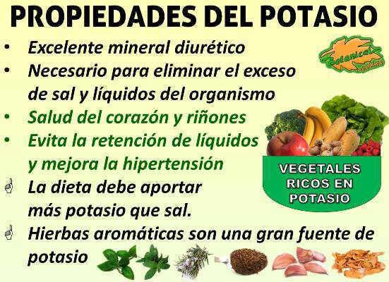 importancia de potasio en el organismo