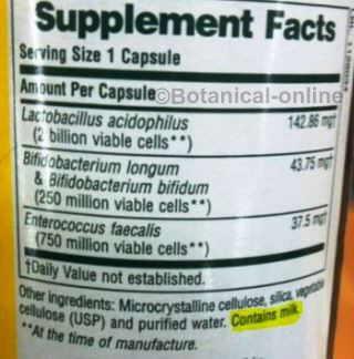 suplemento probiotico etiqueta