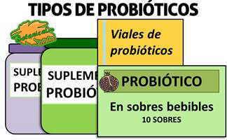 tipos de suplementos probiotico, características viales capsulas sobres
