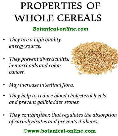 Properties of whole cereals
