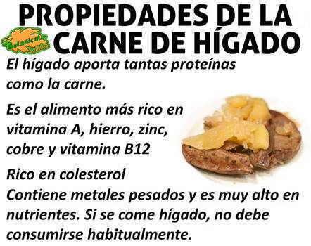 propiedades nutricionales del hígado