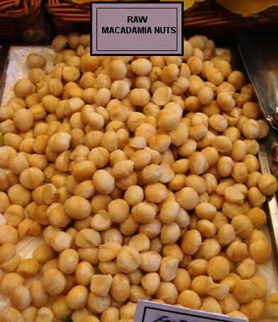 Photography of raw macadamias as sold in stores.