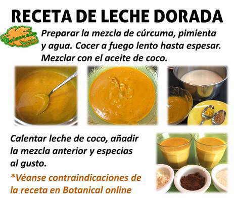 Receta paso a paso receta leche dorada de curcuma, batido de color oro