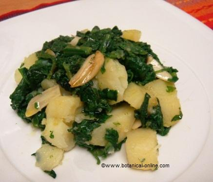 Spinach with potatoes recipe