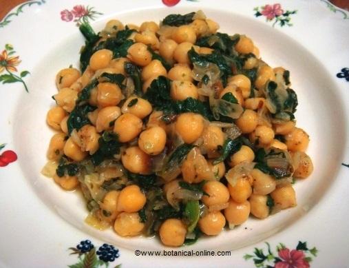 receta de garbanzos con espinacas