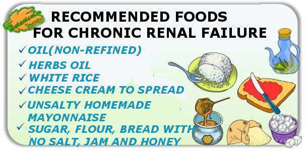 Recommended foods in severe chronic renal failure