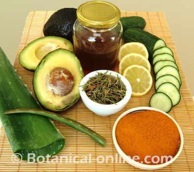 cosmetica natural aloe, curcuma, pepino, miel, romero, limon, aguacate