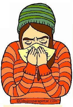 dibujo chica con resfriado