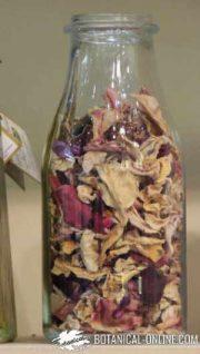 rosa petalos botella cristal