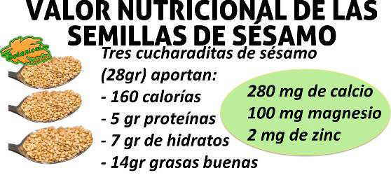 valor nutricional composición calcio magnesio grasas de las semillas de sesamo o ajonjoli