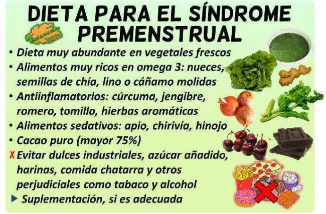 dieta sindrome premenstrual regla menstruacion periodo remedios alimentos
