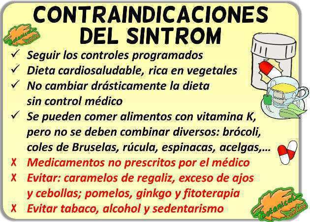 contraindicaciones medicamentos anticoagulantes sintrom warfarina vitamina k