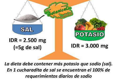 sal sodio potasio equilibrio dieta diuretica hipertension retencion liquidos