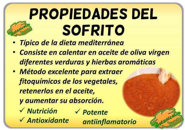 propiedades sofrito aceite oliva dieta mediterranea