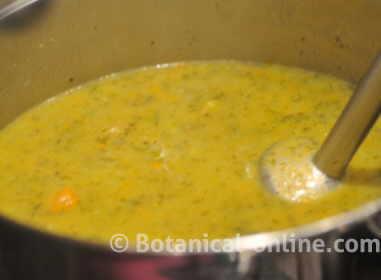 Receta sopa de algas y verduras triturar