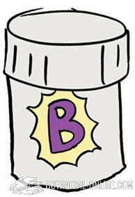 Drawing of vitamin B supplement