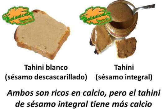 tipos tahini marron blanco integral descascarillado composicion calcio