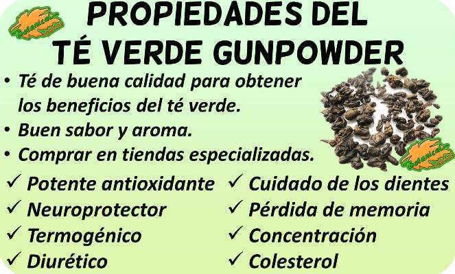 propiedades te verde gunpowder
