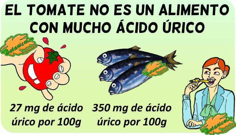 tomate sube acido urico contenido