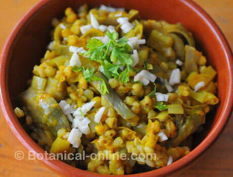 receta de trigo sarraceno con verduras, alcachofa, ajo, perejil
