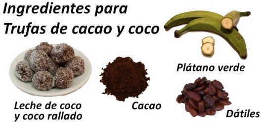 ingredientes trufas de cacao coco caseras sin gluten ni harina