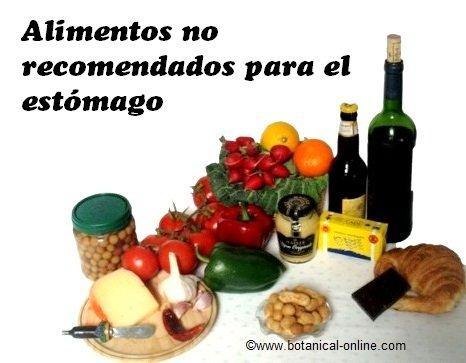 alimentos no recomendados para la ulcera de estomago