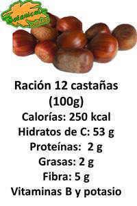 valor nutricional composicion castañas asadas por racion