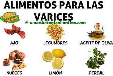 alimentos recomendados dieta para las varices